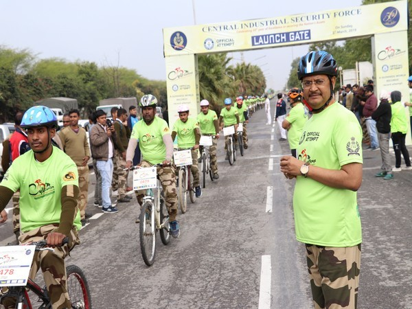CISF createed a new Guinness World Record at the Yamuna Expressway on Sunday. Photo/ANI