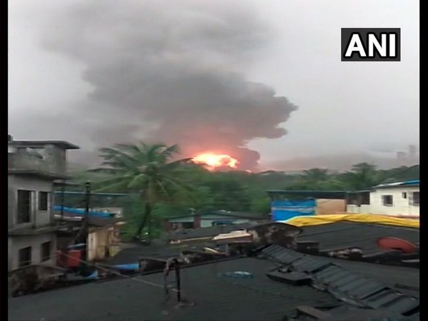 Fire breaks out at a the oil and gas processing plant of ONGC [Photo/ANI]