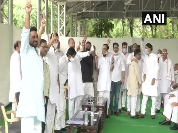 Rajasthan Chief Minister Ashok Gehlot and Congress leaders in Jaipur. [Photo/ANI]