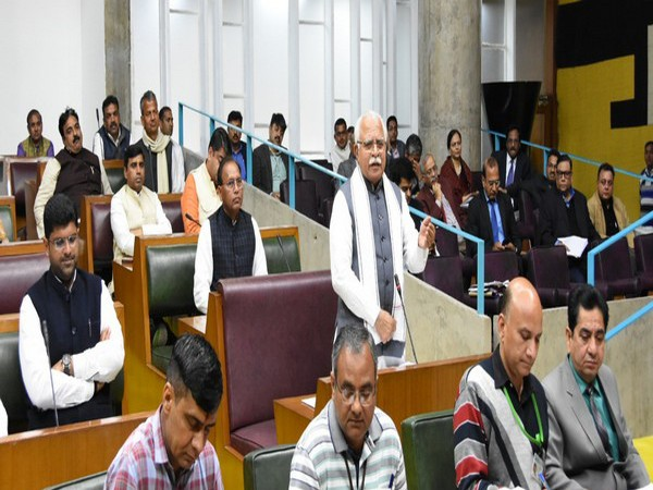 Haryana Chief Minister Manohar Lal Khattar speaking in the Vidhan Sabha on Tuesday in Chandigarh. Photo/ANI