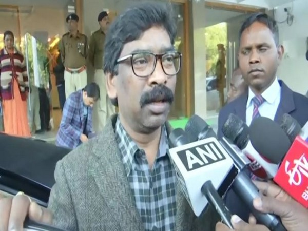 Jharkhand Chief Minister Hemant Soren speaking to reporters in Ranchi on Monday. Photo/ANI