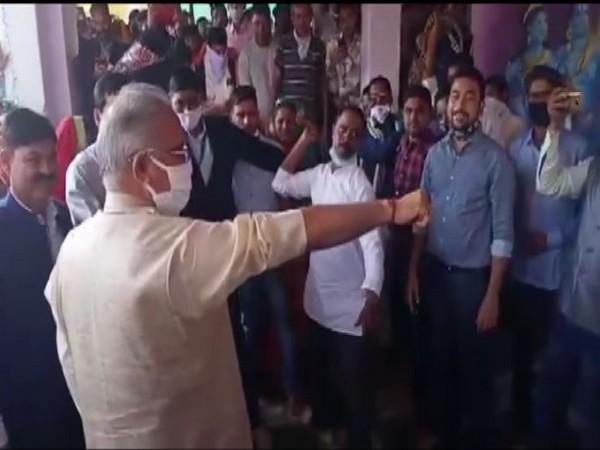 Chhattisgarh Chief Minister Bhupesh Baghel undergoes 'Santa Prahar' tradition. (Photo/ANI)