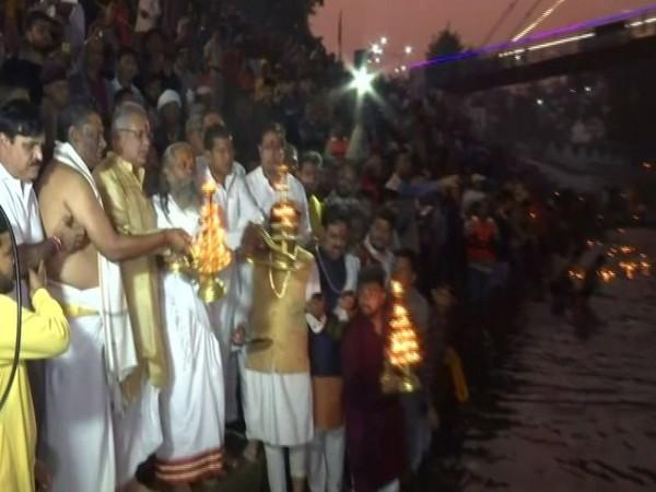 Chief Minister Bhupesh Baghel performs pooja on Kartik Purnima. Photo/ANI