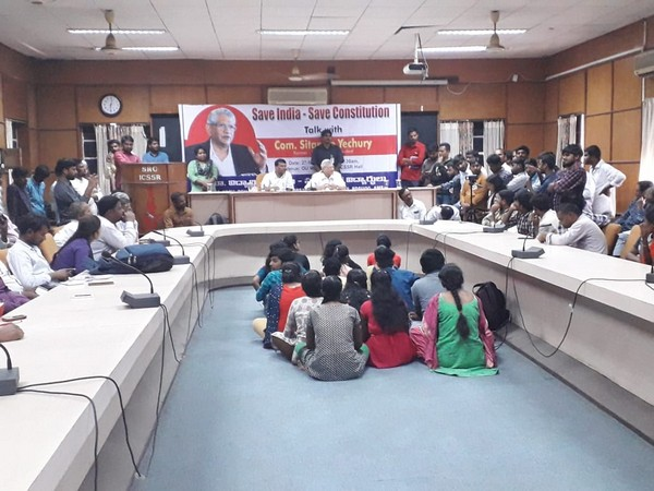 CPIM General Secretary Sitaram Yechury addressing students at an Osmania University Library event on CAA, NRC here on Friday.