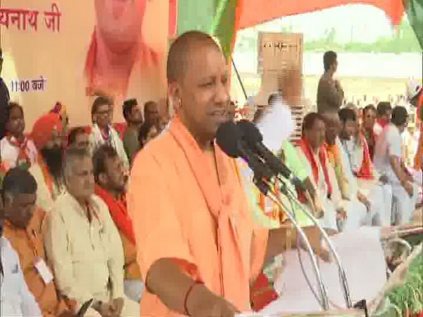 Chief Minister Yogi Adityanath addressing an election rally in Shahjahanpur on Saturday. Photo/ANI