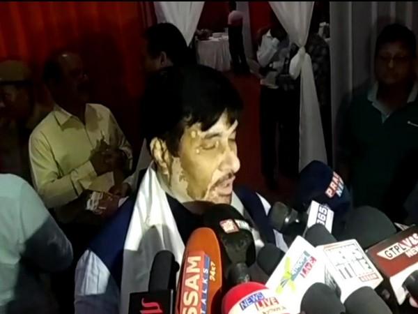 Assam CM adviser Hrishikesh Goswami speaking to media persons on Monday. (Photo/ANI)