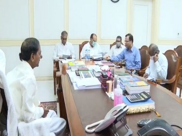 Telangana Chief Minister KCR at a  budget review meeting with the Finance Minister Harish Rao, CS Somesh Kumar and officials. (Photo/ANI)