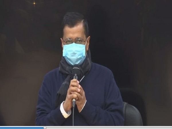 Delhi Chief Minister Arvind Kejriwal addressing public gathering at CM's residence on Tuesday. (Photo/ ANI)