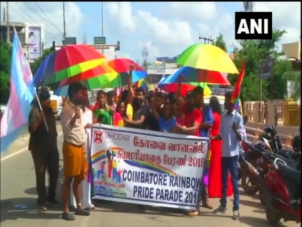 Members of Lesbian, Gay, Bisexual & Transgender (LGBT) community & others hold a 'Rainbow Pride Parade 2019' in Coimbatore [Photo/ANI]