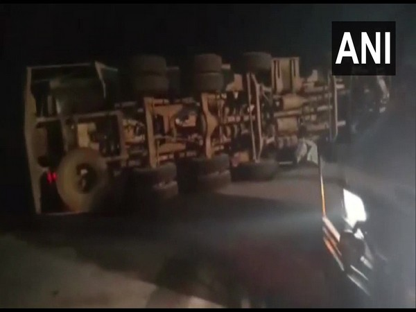 Visual of destruction caused after collision of vehicles on Yamuna Expressway (Photo/ANI)