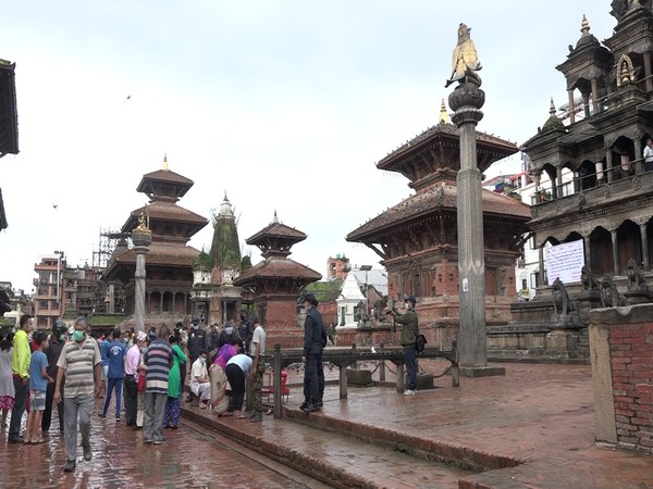 People offering prayers to Lord Krishna at the courtyard of Patan Durbar Square on Janmashtami. Photo/ANI