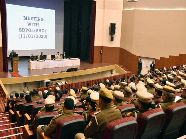 Visual of the meeting between Commissioner of Police with SDPO and SHO in New Delhi on Saturday. Photo/ANI