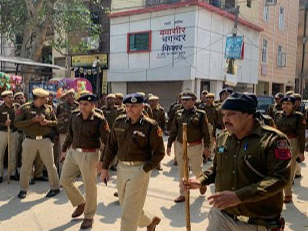 Delhi Police Commissioner SN Srivastava leading the foot patrolling in the city on Tuesday. Photo/Delhi Police Tweet