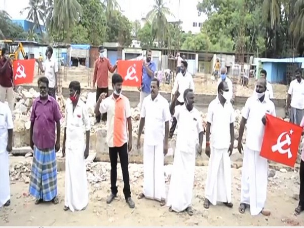 CPI-M workers protesting in Rameswaram. (Photo/ANI)