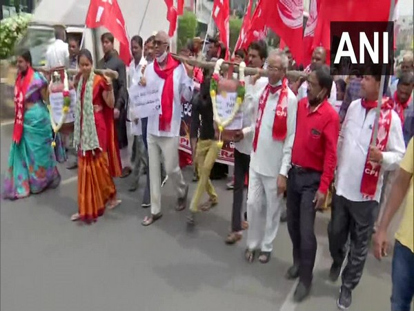 Visual of CPI holding a protest march in Telangana (Photo/ANI)