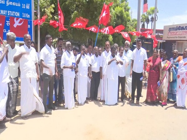 Members of Communist Party of India (Marxist) protesting in Rameswaram on Thursday. Photo/ANI