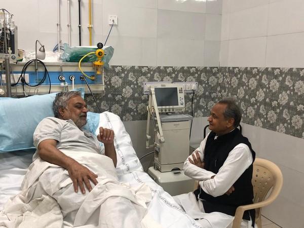 Rajasthan Chief Minister Ashok Gehlot met assembly speaker CP Joshi in hospital on Monday (Image: Twitter/AshokGehlot)
