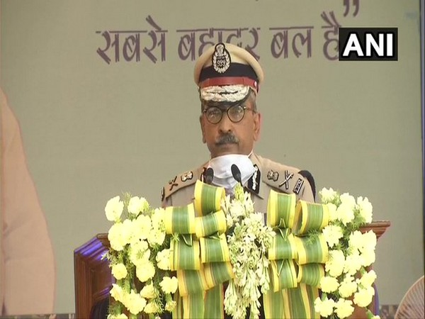 CRPF Director General AP Maheshwari speaking on the 82nd foundation day of Central Reserve Police Force. Photo/ANI