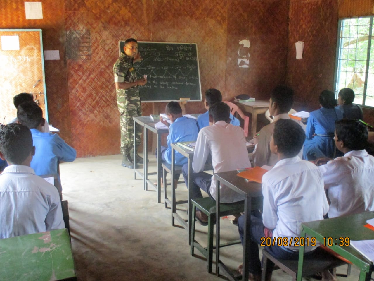 CRPF personnel are conducting classes for students at a school in Koleng (Photo/ANI)