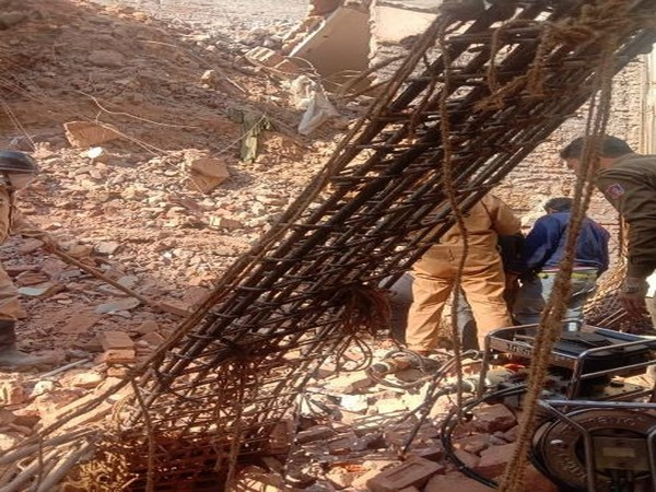 One person is feared trapped in the debris after a house collapsed in CR park in the national capital today. Photo/ANI