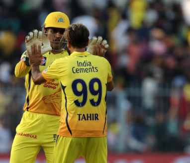 Imran Tahir celebrates with MS Dhoni after taking wicket on Sunday at Eden Gardens (Photo/ Chennai Super Kings Twitter)