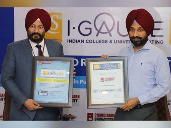 Chancellor Chandigarh University, Satnam Singh Sandhu and Registrar, Dr. S.S.Sehgal showing the Certificate of Ranking by QS I-Gauge Indian Universities Ranking 2020