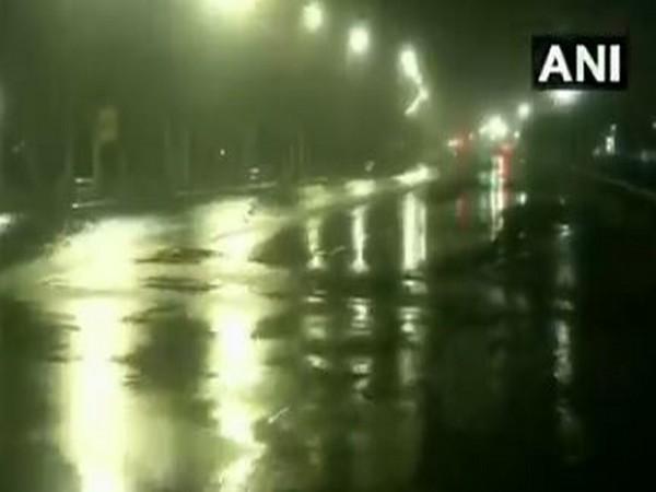Rainfall in Chennai during the landfall of Cyclone Nivar on Wednesday night. (Photo/ANI)