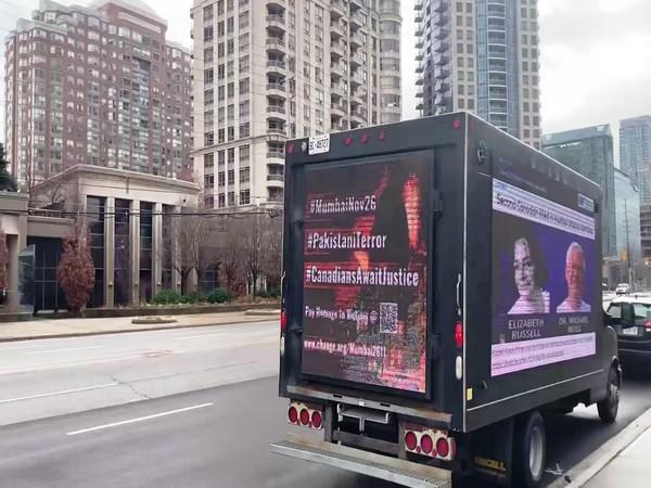 The billboards readings were in hashtags #MumbaiNov26 #Pakistani Terror #CanadiansAwaitJustice.