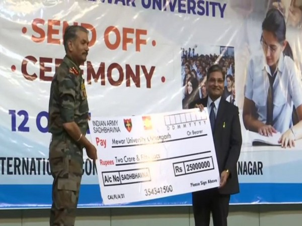 A send-off ceremony was organised to bid farewell to 300 students selected to pursue studies in Mewar University. (Photo/ANI)