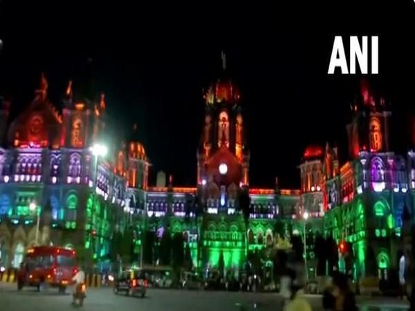 The Chhatrapati Shivaji Maharaj Terminus illuminated with colours of tricolour ahead of the Independence Day. (Photos/ANI)