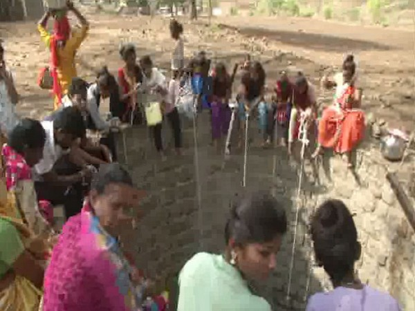Villagers fetching water from well in Melghat