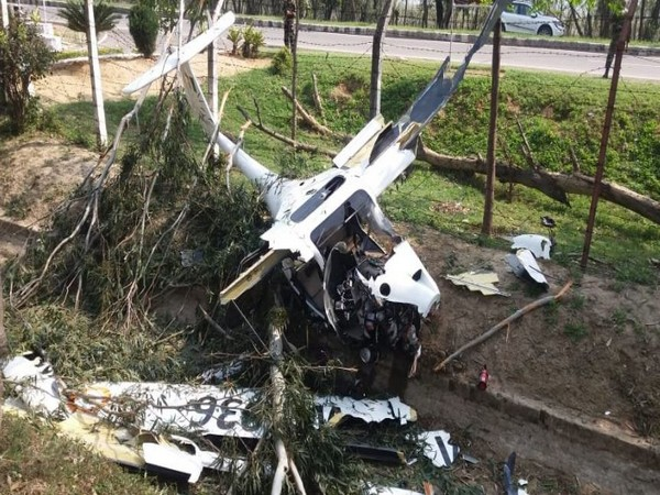 The NCC aircraft, which crashed in Punjab's Patiala, on Monday morning. Photo/ANI