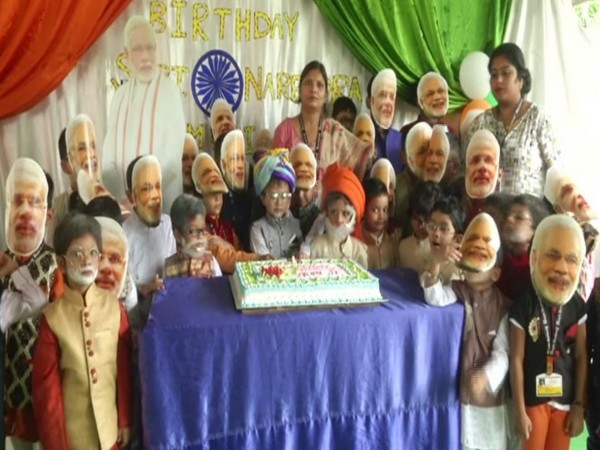 Students of Siliguri Bright Academy celebrated Prime Minister Narendra Modi's birthday in an eccentric way. (Photo/ANI)