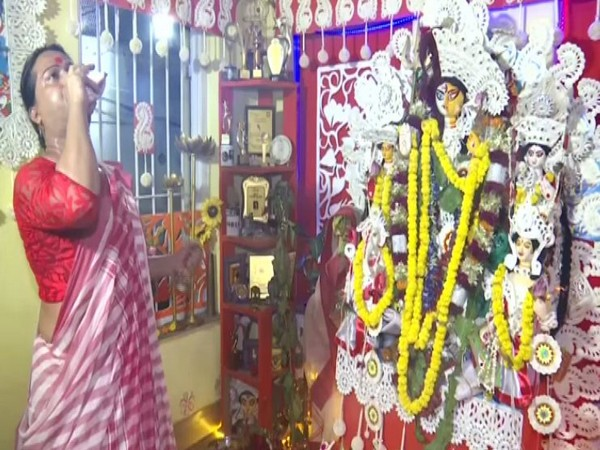 Transgender community members organised special Durga Puja celebration and offered prayers to unique 'Ardh Nariswar' idol. (Photo/ANI)
