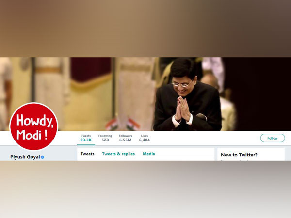Union Minister Piyush Goyal changed his profile picture on Twitter to Howdy Modi! logo. (Photo/Twitter)