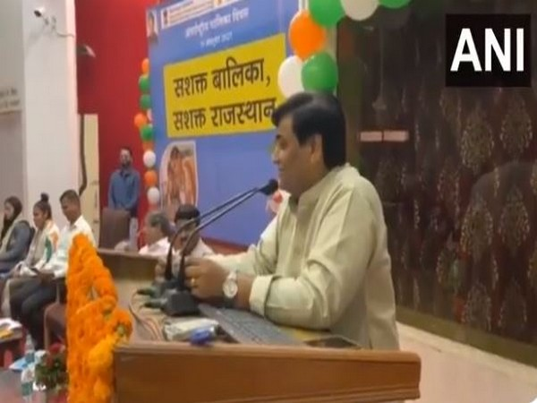 Rajasthan School Education Minister Govind Singh Dotasra speaking on the event of International Day of the Girl Child (Photo/ANI)