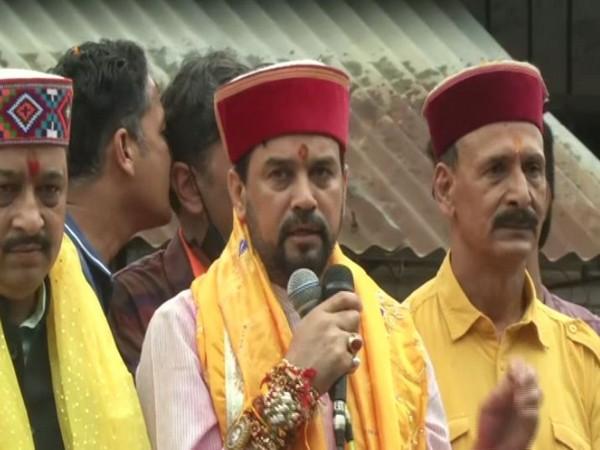 Union Minister Anurag Thakur in Kangra (Photo/ANI)