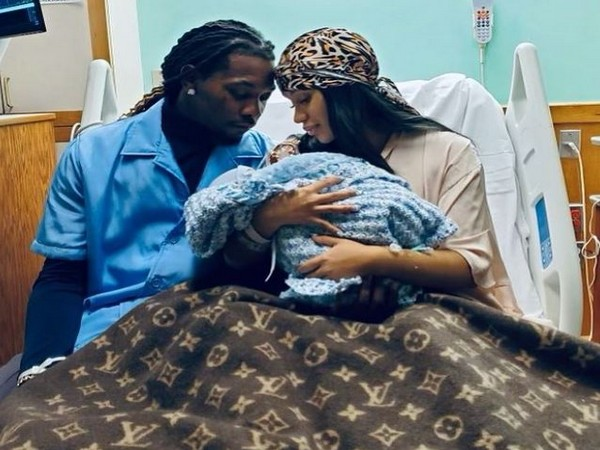 Offset with Cardi B and their new born child (L to R) (Image source: Instagram)