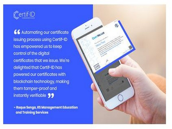 RS Management Education and Training Services issues digital certificates to graduates via Certif-ID