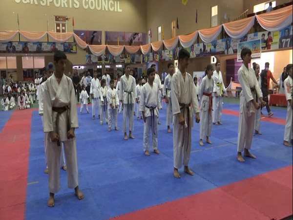 Visual of Srinagar District level Taekwondo Championship. (Photo/ANI)
