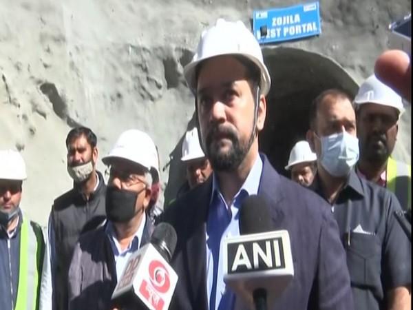 Union Minister Anurag Thakur at Zojila Tunnel