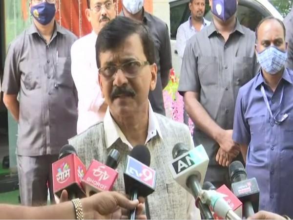 Shiv Sena leader Sanjay Raut talking to reporters in Mumbai (Photo/ANI)