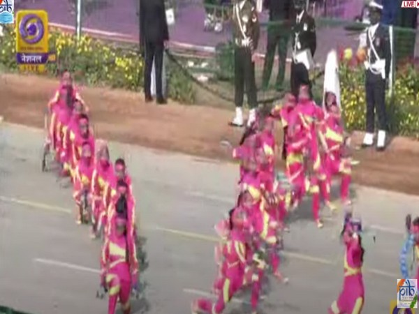 Delhi's Government Girls Senior Secondary School students preforming dance during the 72nd Republic Day