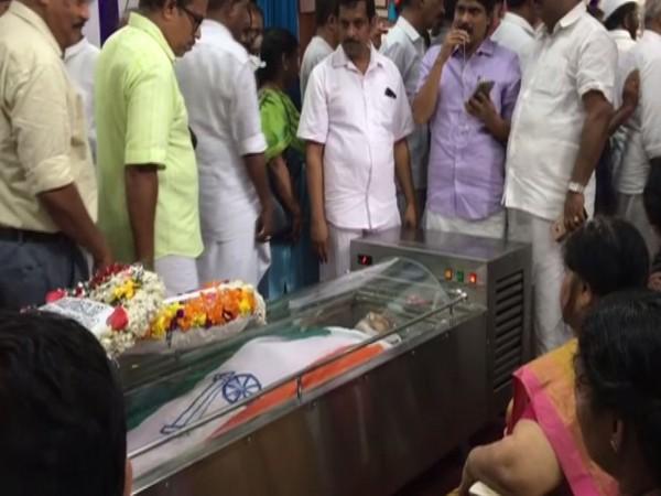 Mortal remains of former Kerala minister and Congress leader P Sankaran (Photo/ANI)