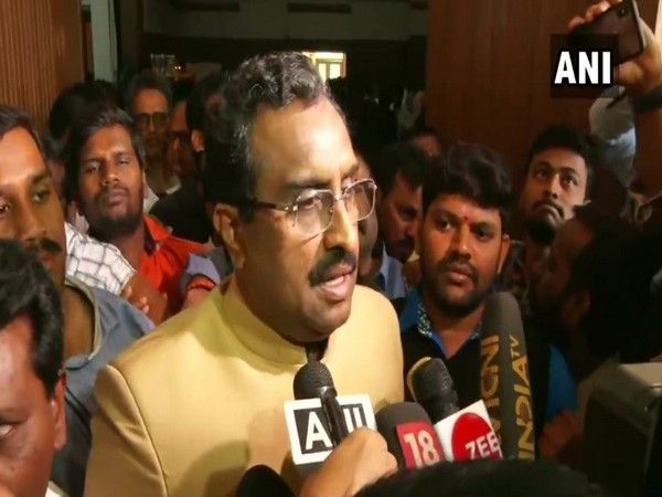 BJP national general secretary Ram Madhav speaking to reporters in Hyderabad on Friday (Photo/ANI)