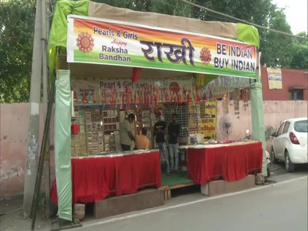 Shopkeepers in Ludhiana are boycotting Chinese rakhis ahead of Rakhsha Bandhan. (Photo/ANI)