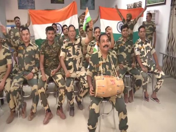 Border Security Force (BSF) personnel were seen cheering for India holding national flags t BSF headquarters in Lhasa