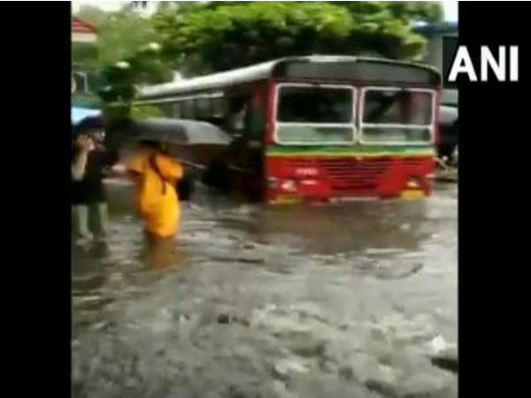 BEST bus submerged in water at Andheri Subway on Tuesday. [Photo/ANI]
