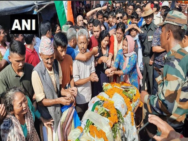 Mortal remains of Naik Subhash Thapa were brought to his native place on Monday. Photo/ANI