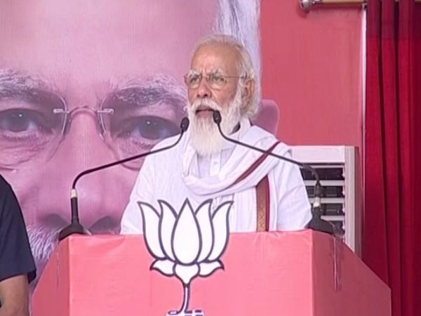 Prime Minister Narendra Modi while addressing a rally in Patna. (Photo/ANI)